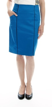 the dita - cotton sateen pencil skirt with piping