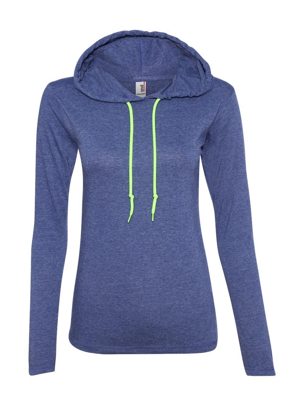 Anvil Women/'s Lightweight Long Sleeve Hooded T-Shirt 887L