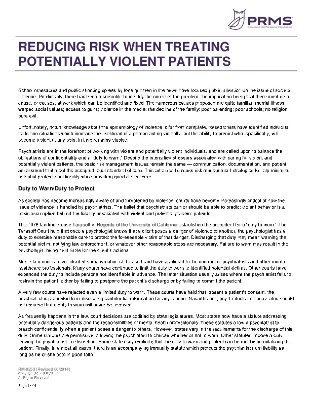Rm 0253 reducing risks violent patients