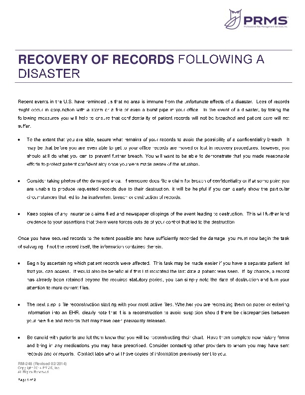 Rm 0248 recovery of records following a disaster