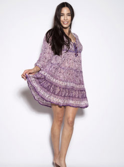 Blue Hippy Floral Boho Purple Dress
