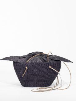 Muun Mini Cole Shine Black Straw Bag -shop amla
