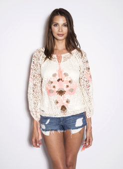 Hand Embroidered Lace Tassel Blouse