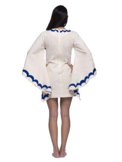 Aquz Embroidered Trim Dress - White/Multi - Santa Marguerite