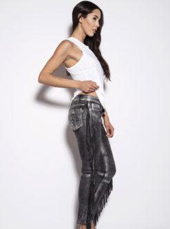 Nove Nappa Leather Fringe Stretch Pants