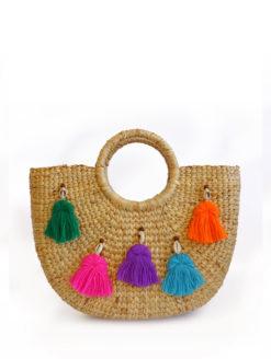 JADEtribe - Mini Neon Tassel Beach Basket