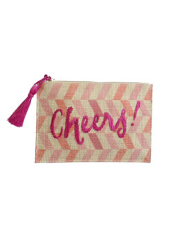 Kayu Woven Pink Cheers Pouch