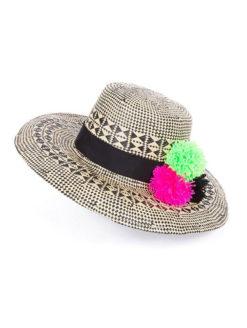 Good Vibes Hat Vibrant Pom Pom Accents - shop amla