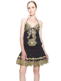 Salinas Dress Black & Gold Halter Dress