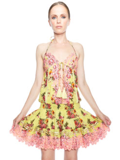 Salinas IBIZA Halter Dress Yellow Floral