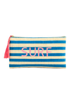 Kayu Embroidered Straw Surf Clutch