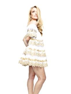 IBIZA EXPOSED SHOULDER MINI DRESS WHITE GOLD