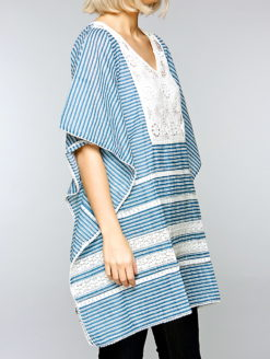 Reilly Striped Blue White Crochet Detail Kaftan