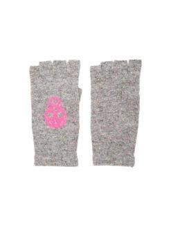 Skull Cashmere Gloves - Pink - Amanda Mills Los Angeles