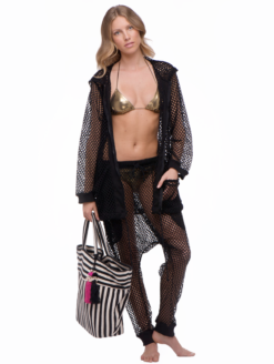 Black Mesh Beach Jacket Harriet Selling - shop amla