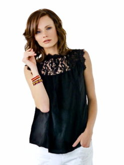 Woo Souvenir Black Lace Roberta Top