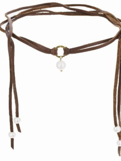Chan Luu White Pearl Leather Wrap Necklace