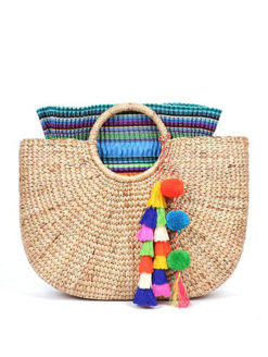 JADE tribe Large Straw Beach Basket Multi Blue - shop amla