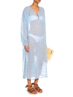 Stitch V-neck Blue Cotton-Gauze Dress