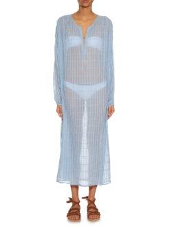 Stitch V-neck Blue Cotton-Gauze Dress-SHOPAMLA