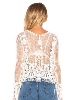 Dylan Semi-sheer festival crochet lace top-back view