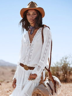 Desert Floral Embroidered Lace Blouse
