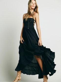 Midnight Moon Boho Chic Maxi Halter Dress