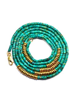 Turquoise Gold Beaded Stone Chain