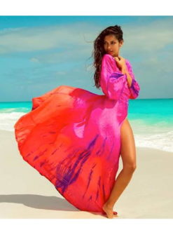 Anna Kosturova Silk Long Sleeve Wrap Dress