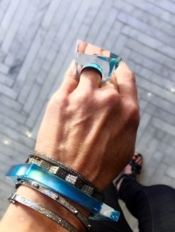 Lucite Faceted Blue Opal Cocktail Ring