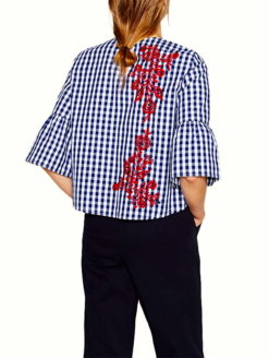 Embroidery Floral Plaid blouse Red Royal White