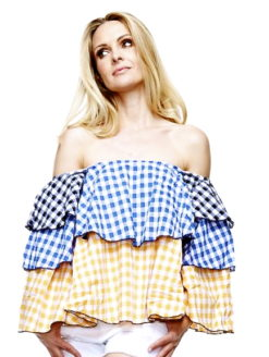 Gingham Layered Exposed Shoulder Top