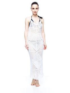 AMLA Syra Ivory Diamond Crochet Maxi Dress