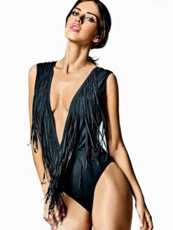 St Tropez Black Slate Long Fringe Trikini