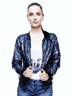 Sequin Bomber Jacket Midnight Blue - am vibe