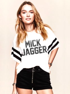 MICK JAGGER WHITE FOOTBALL STYLE TEE - daydreamer