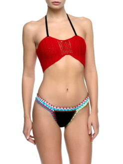 Red Crochet Top Navy Neoprene Bottom Bikini - am vibe