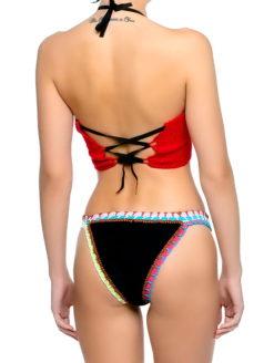 Red Crochet Top Navy Neoprene Bottom Bikini