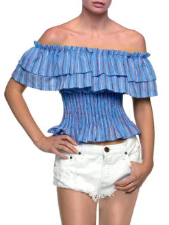 Nantucket Exposed Shoulder Ruffel Crop Top
