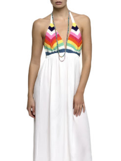 Rainbow Crochet Halter White Maxi Dress