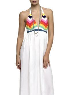 Rainbow Crochet Halter White Maxi Dress