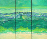 """""""GULF EVER-CHANGING""""   Oil on Canvas     Triptych 9' x 8'   2016"""
