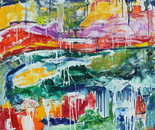 """CASCADING FALLS"" Oil on Canvas 4' x 6' 2017"