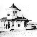The Vue de L'eau streetcar station and observatory, circa 1894. It's hard to see but a street car is arriving at the station. Photo courtesy of the Santa Cruz City-County Library System.