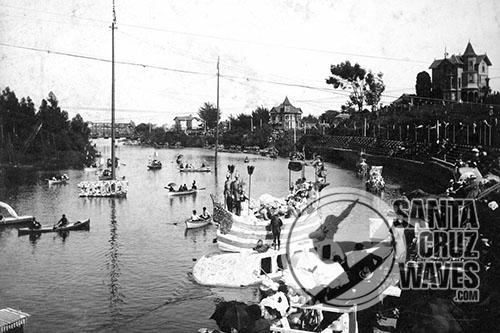 Venetian Water Carnival (1895). Queen Anita's gondola arriving. Picture courtesy of and © Santa Cruz Public Library.