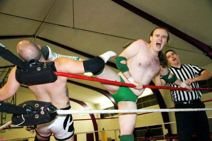 Wrestling in Sacramento for SPW (Supreme Pro Wrestling) ... opponent's name is Anton Voorhees (Also an award winning musical theater performer in SF), referee's name is Toby Reynolds. Photo: George Asencio