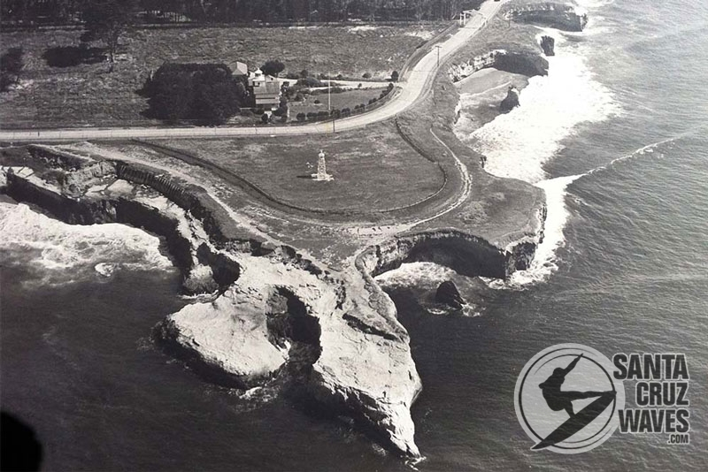 Aerial view of Lighthouse Point circa 1941. You can see the beacon and the old lighthouse on the north side of West Cliff Drive. Photo: Ed Webber, Courtesy of Frank Perry