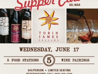 Join us tomorrow at #Searsucker Del Mar for a very specail edition of #WineWednesday with Tobin James Cellars. Resereve a spot (858) 369-5700.  #FoodPairing #PasoRobles #SearSupperClub