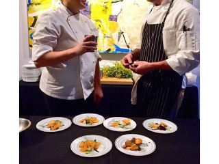 Chef Kenzie Allen & Pastry Chef Mike McKenna representing #SearsuckerATX at the 3rd Annual #ArtBitesATX event! (📷:@austin_monthly)