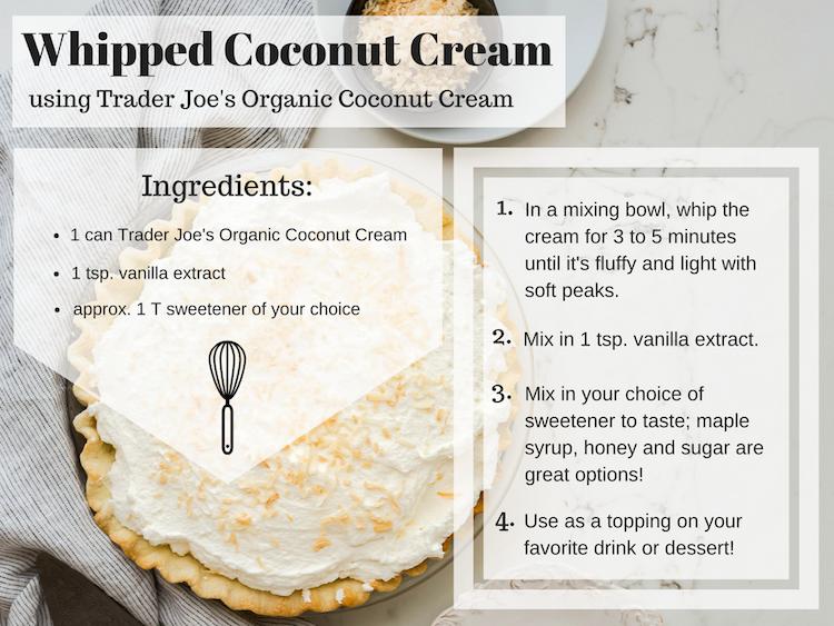 Whipped coconut cream recipe Trader Joe's Thanksgiving